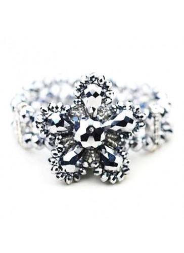 BC0303 Pewter 2 lined crystal flower stretch bracelet