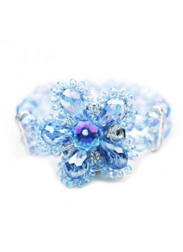 BC0303 Blue 2 lined crystal flower stretch bracelet