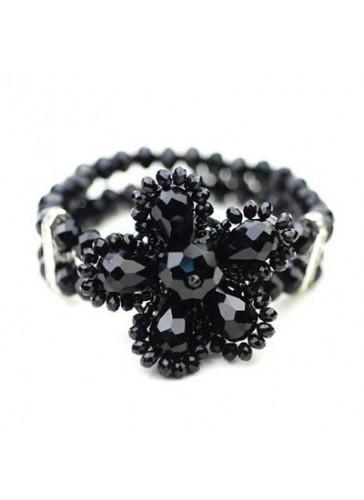 BC0303 Black 2 lined crystal flower stretch bracelet