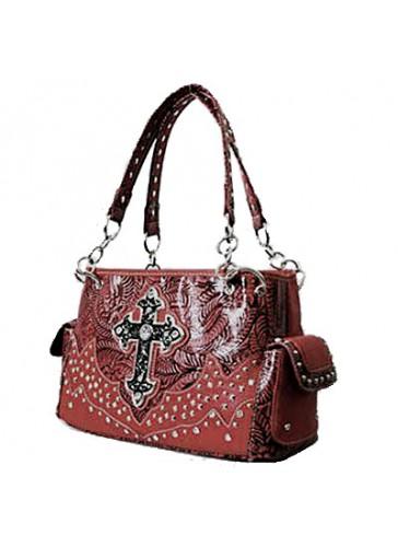 PNC847 western style rhinestone cross bag