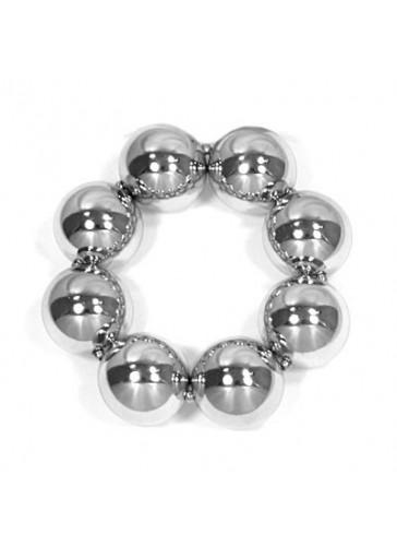 BH1954 Silver toned chunky bead bracelet