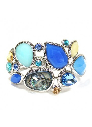 BH1489 Blue multi stoned RH plated bracelet
