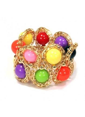BL440430 Gold toned mult color bead stretch bracelet
