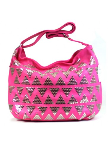 Hot Designer Style Metal Studs Decorated Hobo Bag 158070