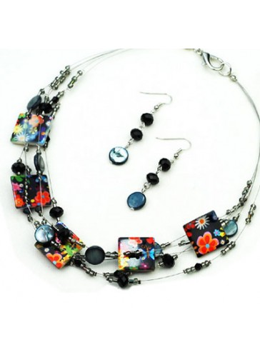 N3174M Multi Wired Charm Beads Necklace