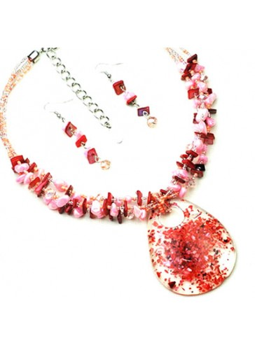 N3203PK Fused Color Resin Pendant Beaded Necklace