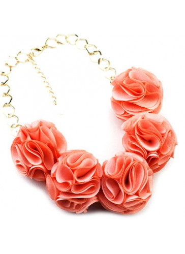 N3352OR Celebrity Style Fabric Puff Flower Ball Necklaces