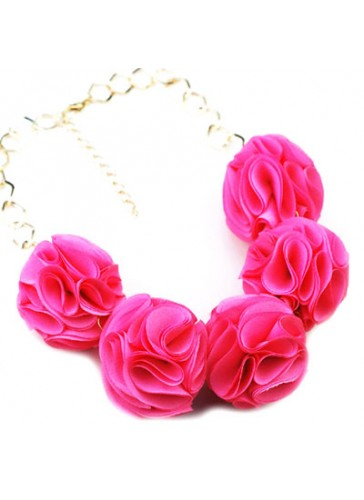 N3352FU Celebrity Style Fabric Puff Flower Ball Necklaces