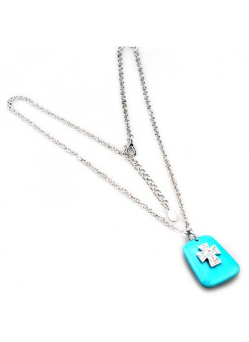 N3513 Turquoise Stone With Encrusted Cross Long Pendant