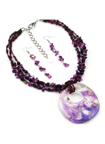 N3186P Fused Color Resin Pendant Beaded Necklace